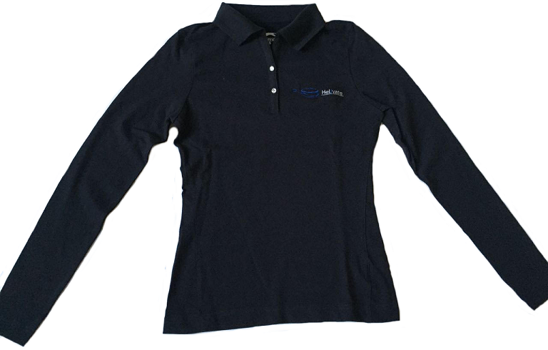 Helivate Ladies Long Sleeve Golf Shirt (Navy Blue)