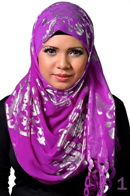 Laser Schal / Echarpe laser / laser scarf purple + silver