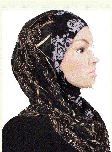 Kuwait Hijab Black/White/Gold