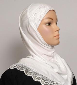 Einteiliger Hijab für Mädchen, weiss / Hijab une pièce pour filles blanc / Girls Hijab one pièce white