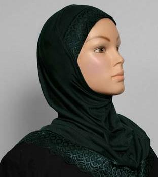 Girls Hijab Forest Green