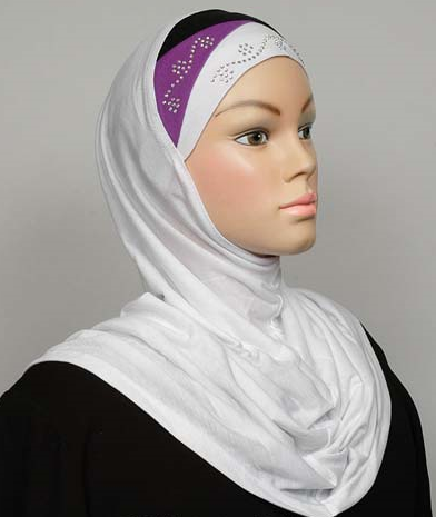 Amira Hijab White/Black/Violet