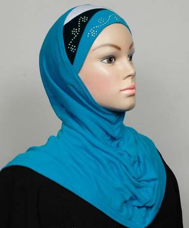 Amira Hijab Turquoise/Black/White