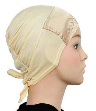 Bonnet Satin Strass, Beige