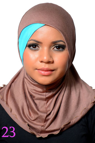 One piece Hijab Beige/Turquoise Cotton