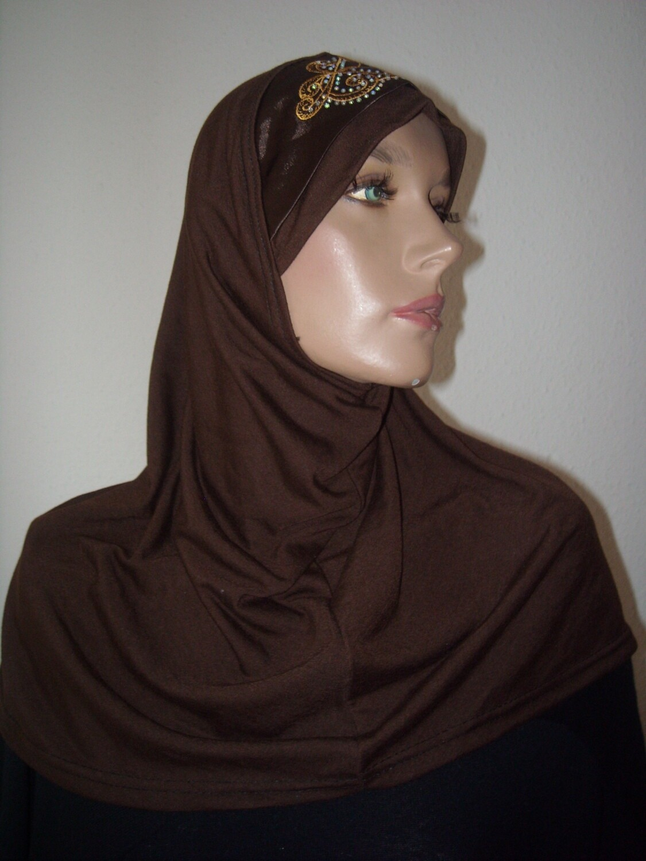 Amira Hijab brown satin