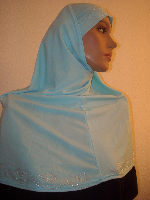Amira Hijab Strass hellblau, bleu clair, light blue