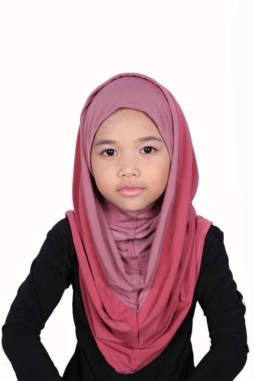 Girls Hoodie Hijab Bicolore Rose
