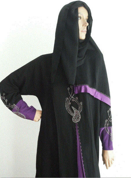 Abaya Bicolore, Black/Purple/Violett mit Schal / Avec écharpe