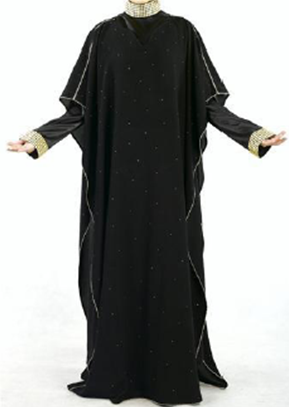 Black Abaya mit Deko Perlen / avec perles déco / with deco pearls