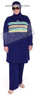 Ahiida® Burqini®™ Modest Fit Midnight Blue Stripes XXL