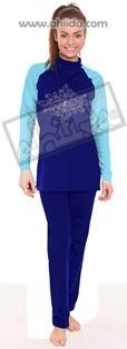 Ahiida® Sun Safe Full Cover Aquatic Blue Swirl Curls Dots