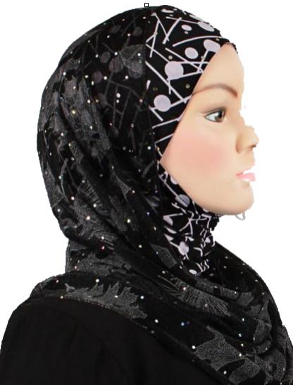 Kuwait Hijab Sparkling Black & White