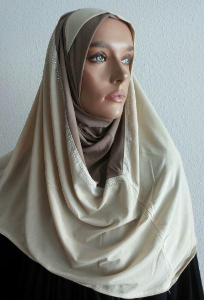 Hoodie Hijab Strass Beige / Taupe