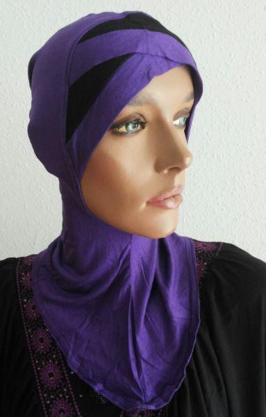 Nina Bonnet bicolore violett/schwarz - mauve/noir