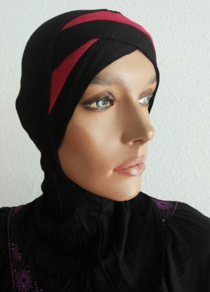 Nina Bonnet bicolore schwarz/rot - noir/rouge