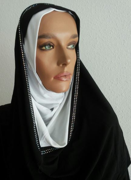 Hoodie Hijab Strass Bicolore Black & White