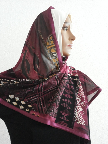 Kuwait Hijab White with black dots