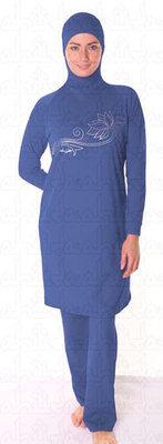Ahiida® Burqini® Modest Fit Blue Silver Lilly