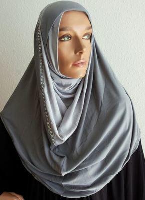 Hoodie Hijab Strass Bicolore Grey