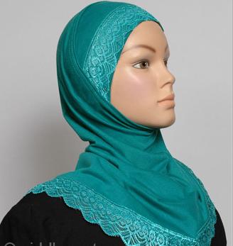 Einteiliger Hijab für Mädchen, grün / Hijab une pièce pour filles vert / Girls Hijab one pièce green