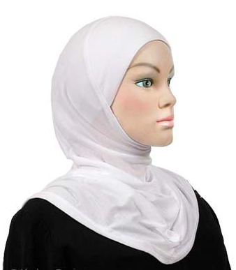 Einteiliger Hijab, Baumwolle weiss / Hijab une pièce, cotton blanc / one piece cotton hijab, white