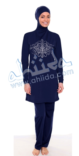 Ahiida® Burqini®™ Slim Fit Swimwear Arabian Dots Navy