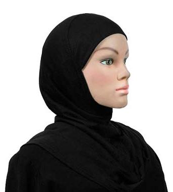 Einteiliger Hijab, Baumwolle schwarz / Hijab une pièce, cotton noir / one piece cotton hijab black