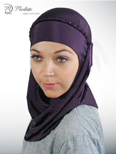 Modiste Hijab Dark purple mit Kordel - avec cordon tressé