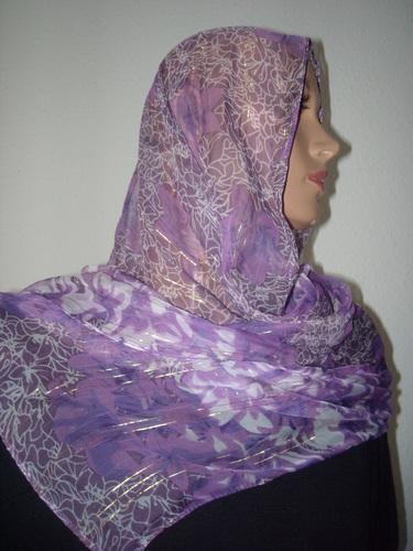 Seidenschal violett - Echarpe légère en soie mauve - Light silk scarf lilac