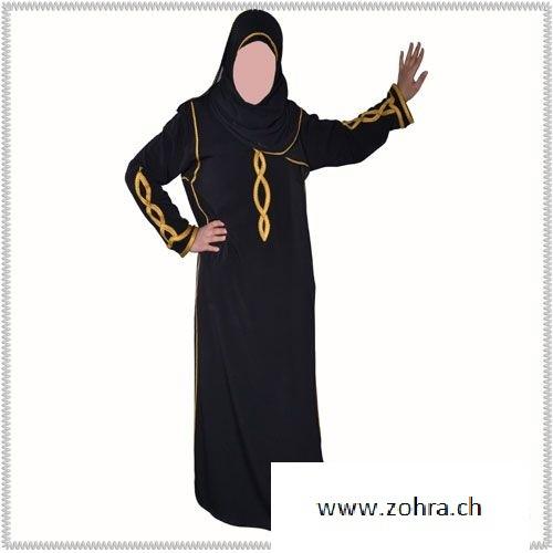 Abaya Black and Gold + Hijab