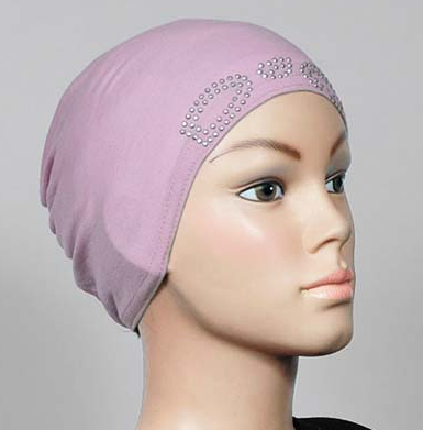Bonnet lila mit Strass / bonnet lila avec strass / beanie cap with strass, lilac