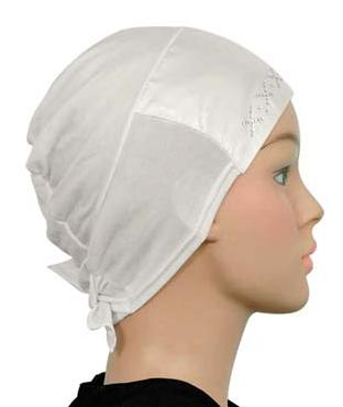 Bonnet Satin Strass, weiss / blanc / white