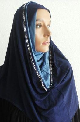 Hoodie Hijab Strass Bicolore Blue
