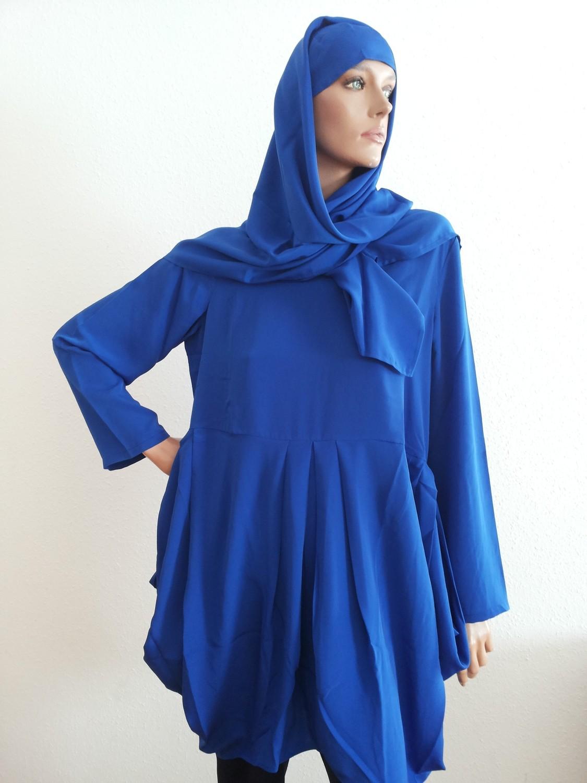 Tunic One Size (L) Royal Blue + Hijab + Bandana
