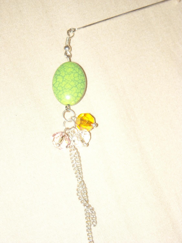 Hijab pin green silver