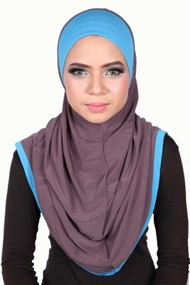 Express One Piece Hijab Taupe / Blue