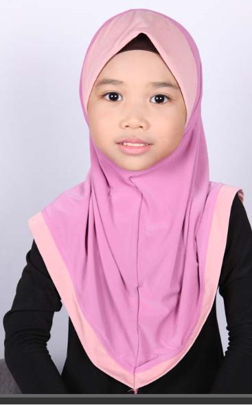 Girls Hijab Bicolore Rose
