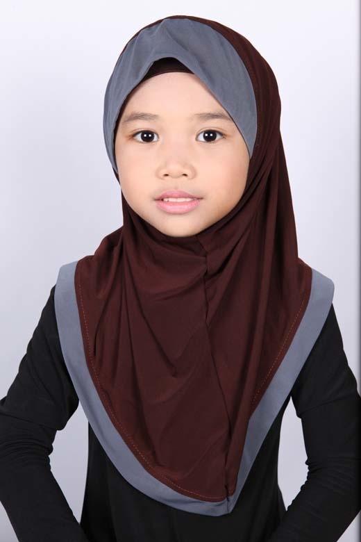 Girls Hijab Bicolore Brown / Grey