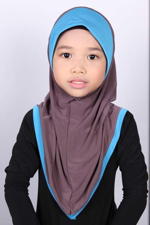 Girls Hijab Bicolore Brown / Turquoise