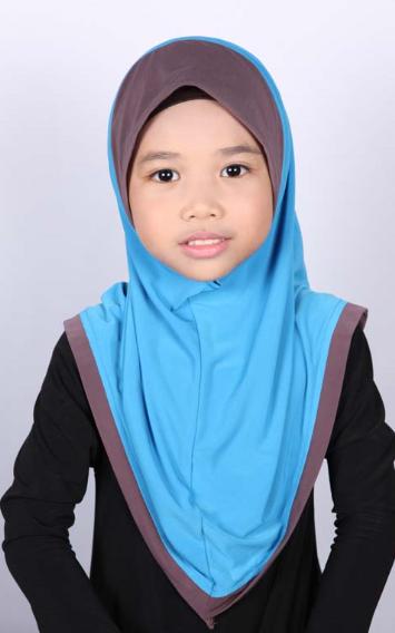 Girls Hijab Bicolore Turquoise