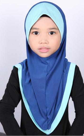 Girls Hijab Bicolore Blue