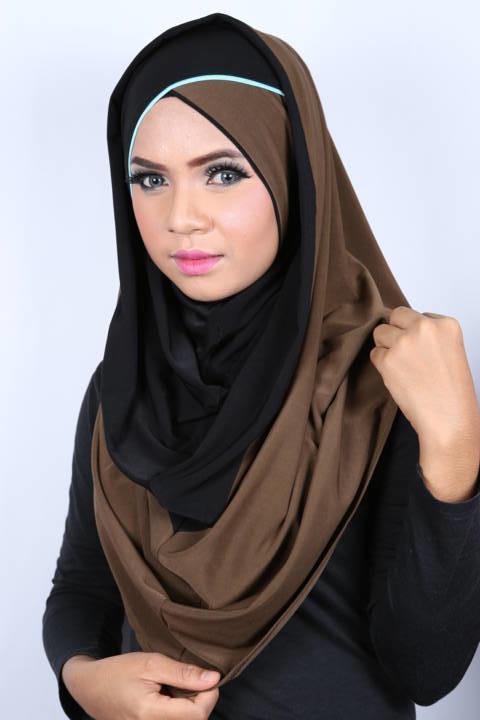 Smart Cut Hoodie Hijab Croisé Black / Brown
