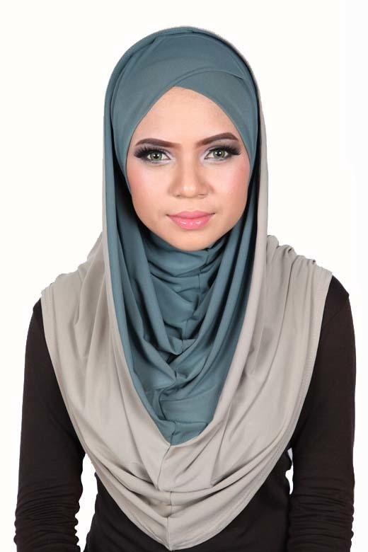 Smart Cut Hoodie Hijab Olive / Taupe