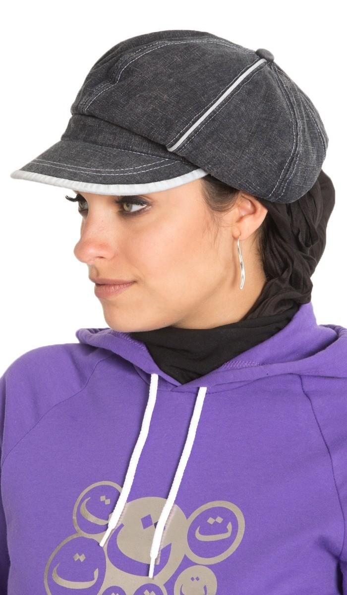 Mütze, Casquette, Cap black denim