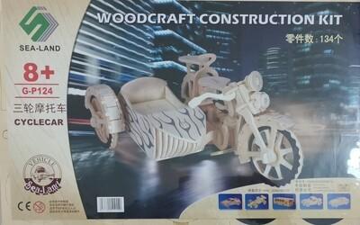 DIY 3D Wooden Puzzle Building Kit  - Cyclecar (3 Full Sheets)