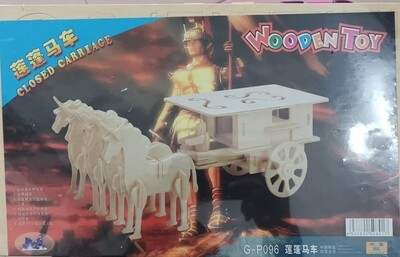 DIY 3D Wooden Puzzle Building Kit  - Closed Carriage (3 Full Sheets)