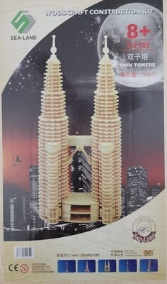 DIY 3D Wooden Puzzle Building Kit  - Twin Towers (8 Sheets)