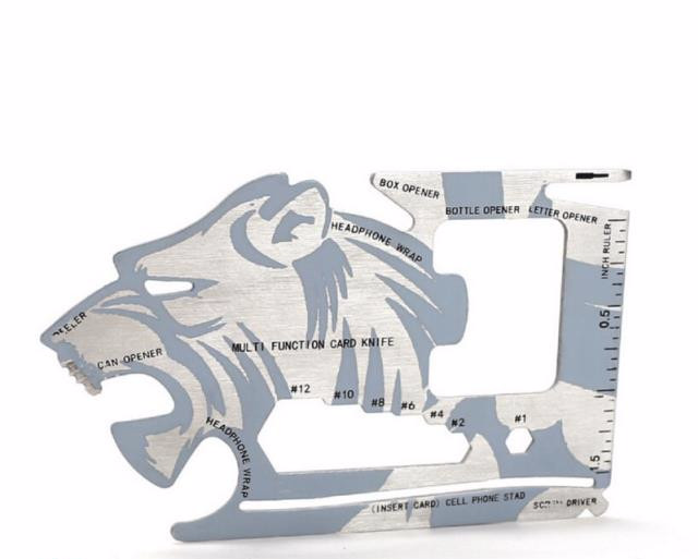 Lion Shape 18 in 1 Multi function Tool - Pocket Card Stainless Tool
