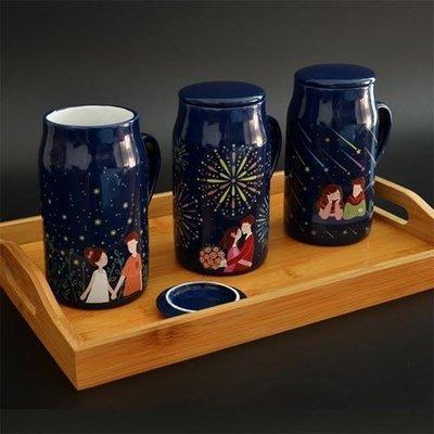 Heat Sensitive Color Changing Ceramic Coffee Mugs Lovers Design
